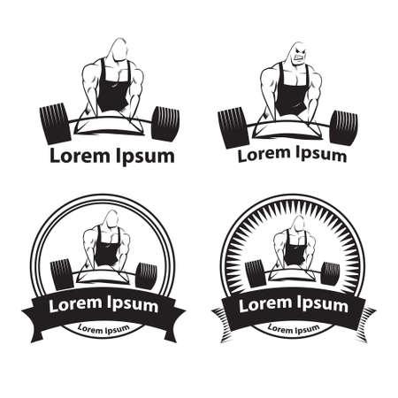 powerlifting: powerlifting emblems, simple illustration