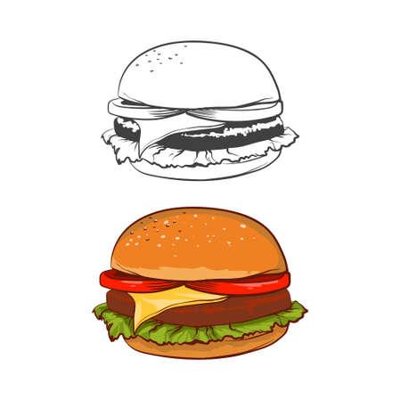 mustard seed: fast food, hamburger, simple illustration