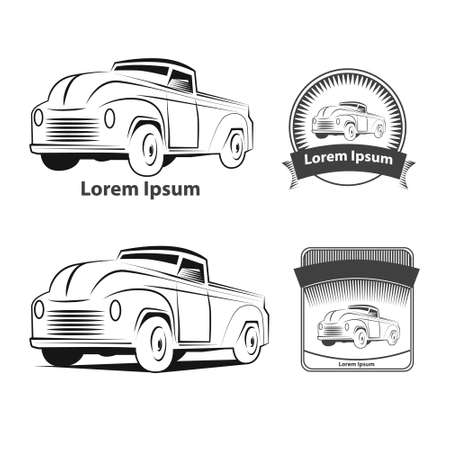 low tire: American Pickup truck  isolated on white background, icon, simple vector illustration
