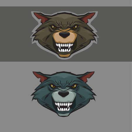 lobo feroz: icono de color cabeza del lobo, lobo deportes cara carácter de la mascota