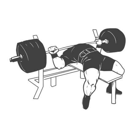 격리 된 흰색 배경에 powerlifting 벤치 프레스 그림 일러스트
