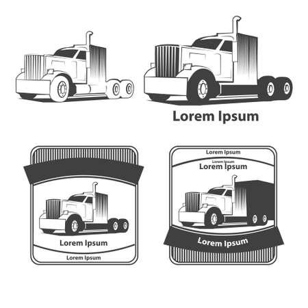 front loading: truck, simple illustration, transporation