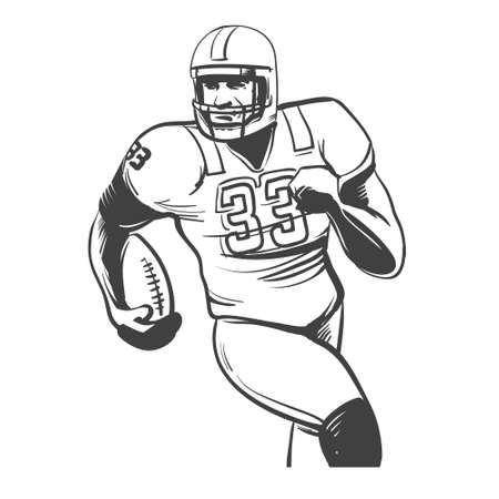 isolated on white: american football players illustration inking on isolated white background