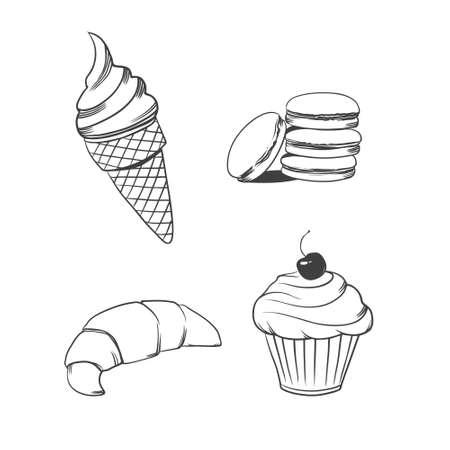 set of dessert on isolated white background