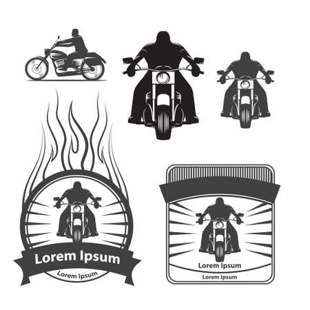 silhouette of a motorcycle rider, simple illustration for icon Иллюстрация