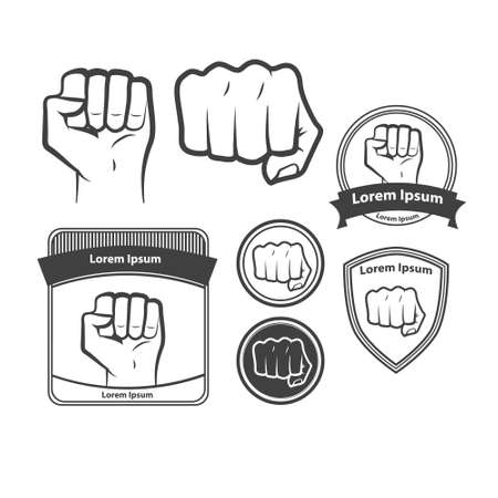 wallop: set of images,  fist icon. fist silhouette on white. Illustration