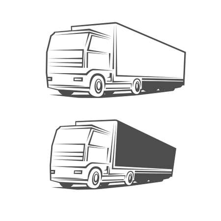 front loading: truck design template, simple vector illustration