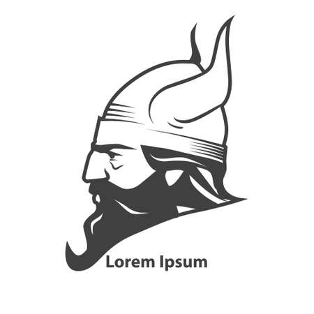 viking: simple illustration, viking head, profile view Illustration