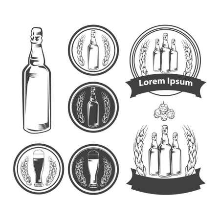 brewery: craft beer brewery emblems, design elements  Illustration