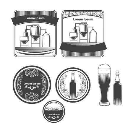 craft beer brewery emblems, design elements