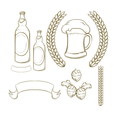 german mark: cartoon beer illustration, design elements  Illustration