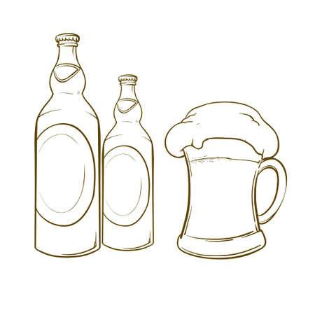 alchoholic drink: cartoon beer illustration, design elements