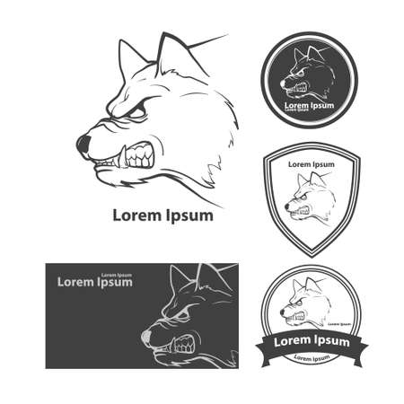 white wolf: wolf head, american symbol, simple illustration, sport team emblem, design elements