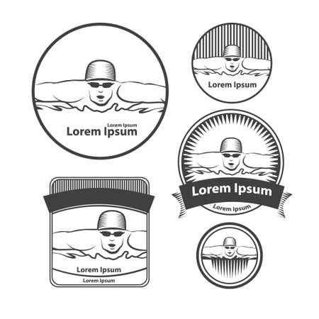 swimmer: swimming club  swimmer, simple illustration, design elements