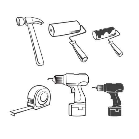 remodel: House remodel: set of vector working tools, on white background Illustration