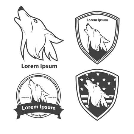 lobo feroz: cabeza del lobo, símbolo americano, simple ilustración, equipo de deporte emblema, elementos de diseño