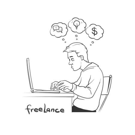 scetch: freelancer in scetch style - sitting at computer and working on freelance project, simple illustration Illustration