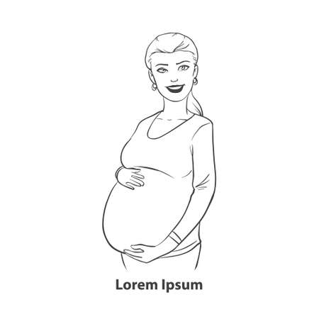 awaiting: pregnant woman in cartoon style, simple illustration