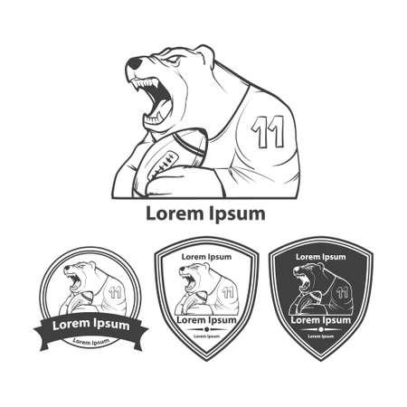 bruin: bear with rugby ball, american football symbol, simple illustration, sport team emblem, design elements Illustration