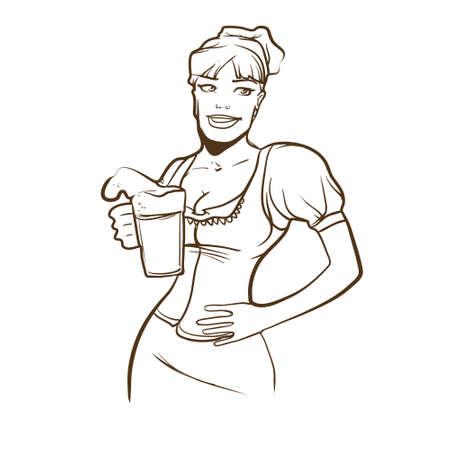 mini skirt: simple vector illustration, cartoon pretty girl with beer, sexy waitress Illustration
