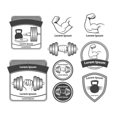 cross bar: set of gym equipment, quotes and design elements Illustration