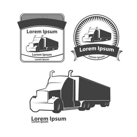 front loading: truck design template, simple vector illustration, elements