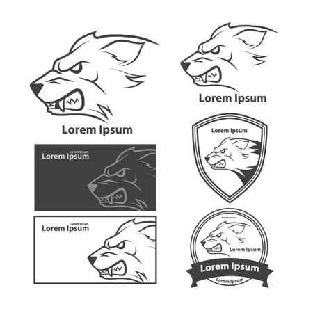 testa di lupo per, simbolo americano, semplice illustrazione, Sport di squadra emblema, elementi di design