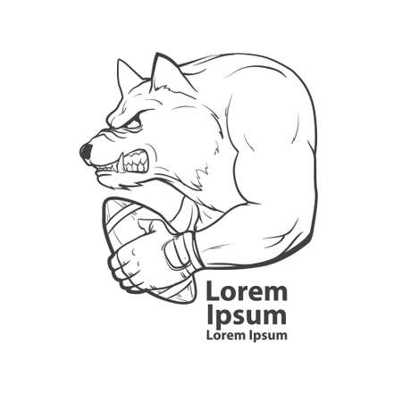 bruin: wolf with rugby ball