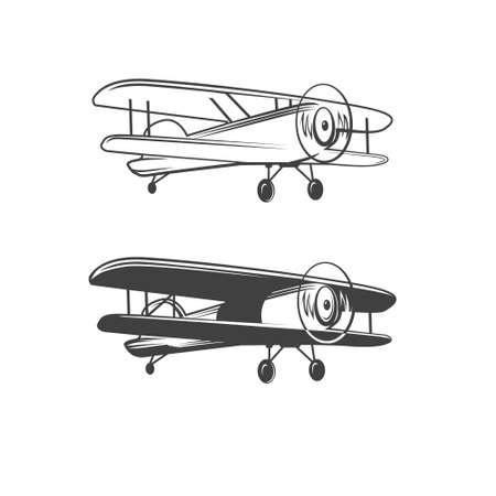 Biplano, ilustração simples, avião retrô, vetor Foto de archivo - 52001381