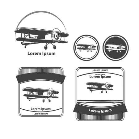 biplane: biplane , simple illustration, airplane retro, labels and design elements