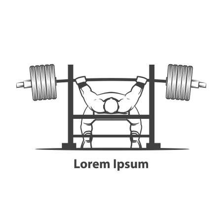 squat: powerlifting bench press figure on isolated white background, simple illustration