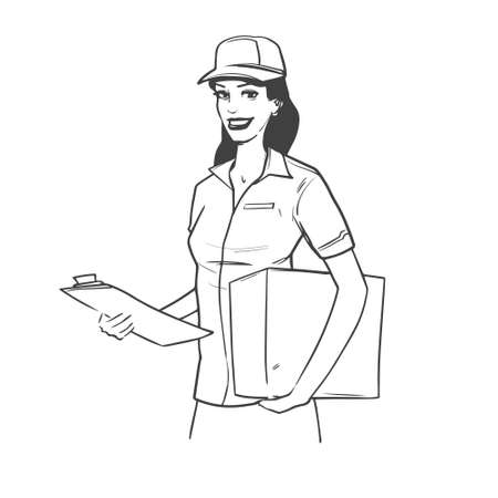 toothy smile: pretty service woman holding a box, simple illustration Illustration
