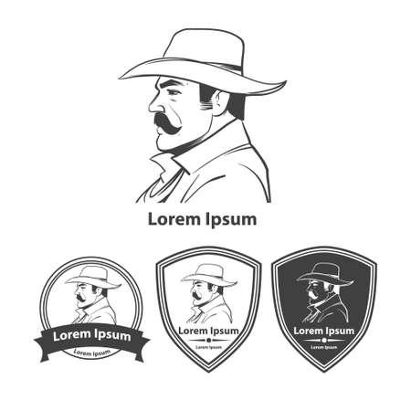 rustler: western cowboy head  in hat, profile view, simple illustration, design elements Illustration