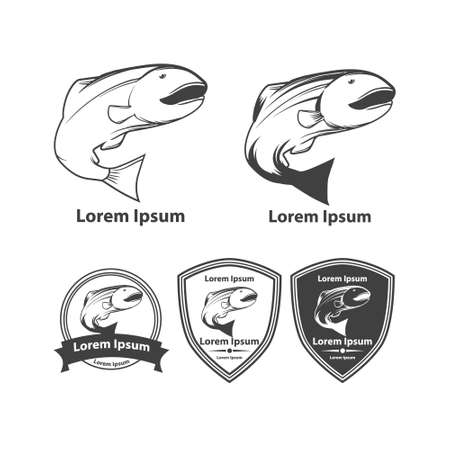 salmon fishing: salmon fishing emblems food elements vector fish