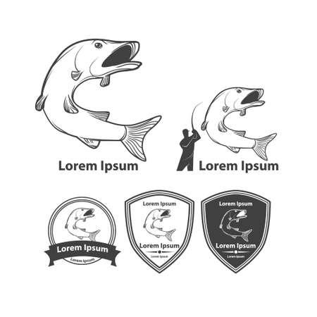 illustration simple de poisson, emblèmes de pêche, éléments de conception et modèles Vecteurs