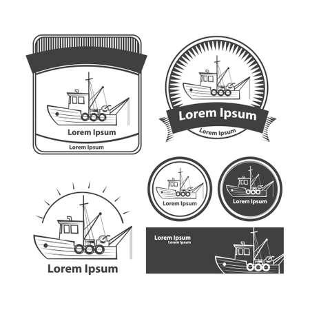 barco de pesca, simple ilustración Ilustración de vector