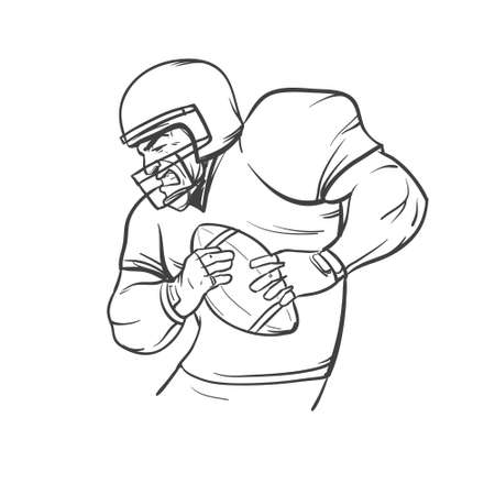 final college: american football player, isolated, simple illustration vector