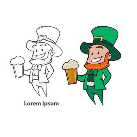 dwarf costume: Leprechaun with beer, simple illustration vector green
