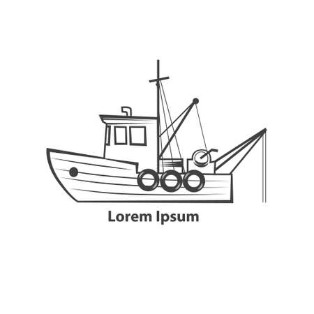 fishing boat, simple illustration