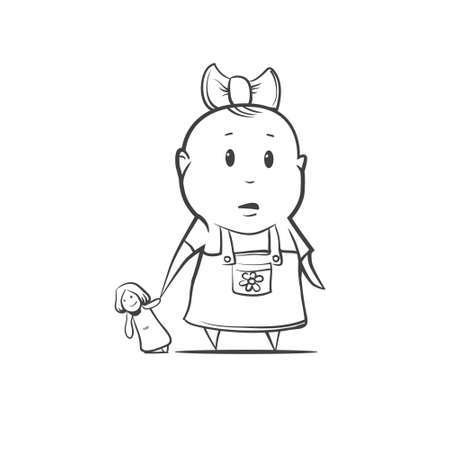 baby open present: cartoon girl with toy, simple illustration