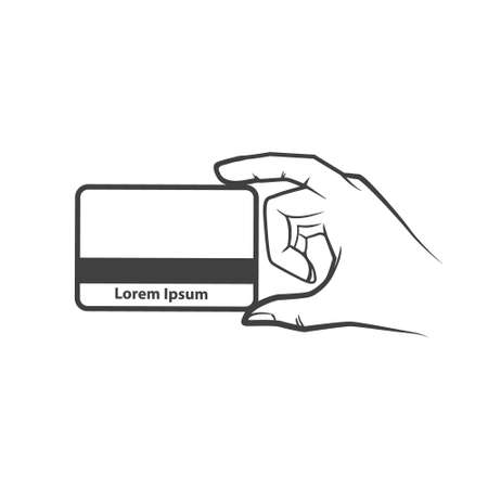 hand holding id card: hand holding credit card, simple illustration vector