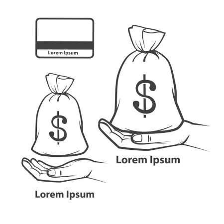 hand holding money bag: hand holding money bag with dollar sign, simple illustration