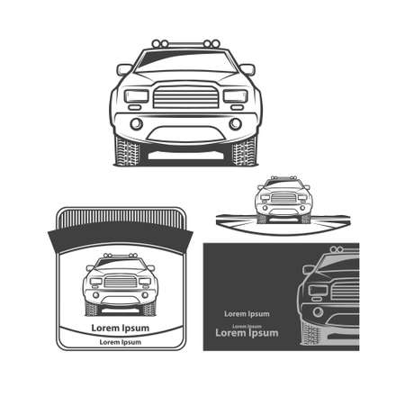 autotruck: pick up front view, club , design elements, emblems Illustration