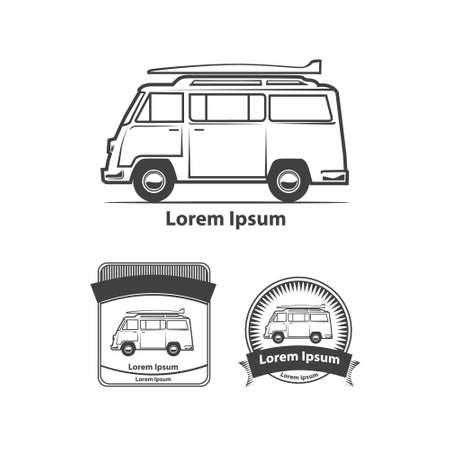 minivan: retro minivan with surfboard, profile view, for , simple illustration, design elements