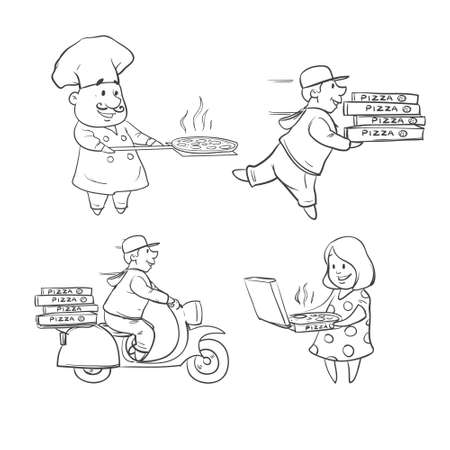 deliver: pizza, chief, fast delivery service, food order, happy client, simple illustration Illustration