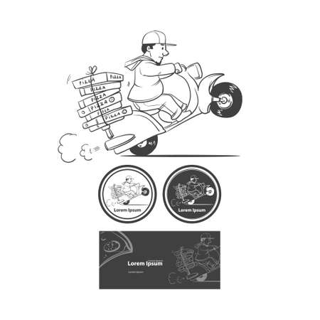 motor bike: cartoon pizza delivery man riding motor bike isolated on background, design elements Illustration