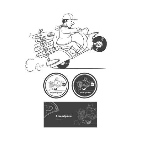 hombre con sombrero: Historieta de la pizza repartidor moto que monta aislada en el fondo, elementos de dise�o Vectores
