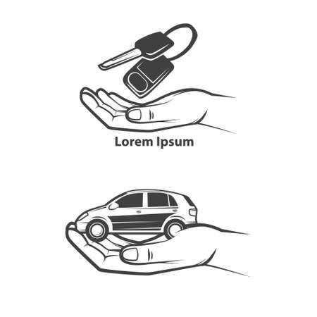 key handover: car rental or sale concept, hand holding car key and small car