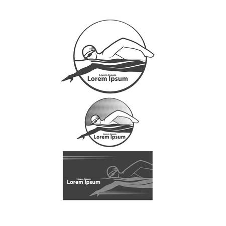 swimming club logo, swimmer, simple illustration, emblems, design elements 矢量图像
