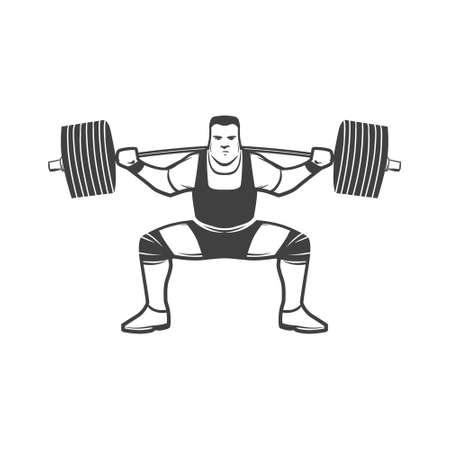 squat: powerlifting squat figure on isolated white background, simple illustration